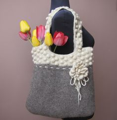 BLACK & WHITE Hand crochet and felted wool bag in by elfinhouse