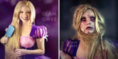Glam & Gore: Self-Taught Artist Shows The Fate Of Disney Princesses And Pop Icons - Rapunzel before and after getting tangled in her hair
