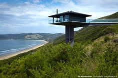 Architecture have designed the Pole House, perched high above the scenic Great Ocean Road in Australia.Perched high above the Southern Ocean on Australia's famous Great Ocean Road, the Pole House … Architecture Design, Timber Architecture, Classical Architecture, Residential Architecture, Fairhaven Beach, Pole House, House 2, Victoria Beach, Unusual Homes