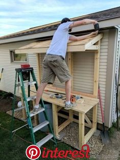 of shed landscaping build this giant potting bench slash garbage can enclosure {Reality Daydream} Outdoor Potting Bench, Potting Tables, Outdoor Seating, Potting Bench With Sink, Potting Sheds, Potting Soil, Potting Station, Outdoor Sinks, Outdoor Garden Sink