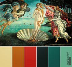 Resultado de imagem para the birth of venus botticelli color palette
