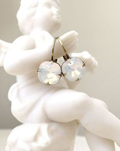 Classic White Opal Crystal Earrings – Cupids Charm