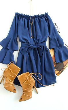 Cute fall style-Navy bell sleeve off the shoulder dress outfit.