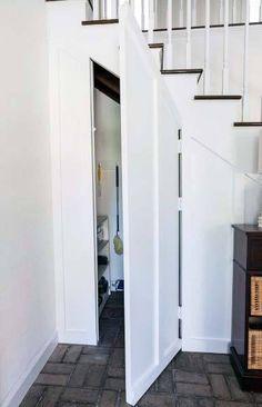 Top 50 Best Hidden Door Ideas - Secret Room Entrance Designs Stair Shelves, Staircase Storage, Stair Storage, Staircase Design, Hidden Storage, Storage Under Stairs, Secret Storage, Closet Door Storage, Closet Doors