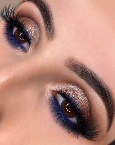 Blue Dress Makeup, Blue Makeup Looks, Pretty Eye Makeup, Beautiful Eye Makeup, Blue Eye Makeup, Eye Makeup Tips, Indian Eye Makeup, Sparkly Eye Makeup, Make Up Gold
