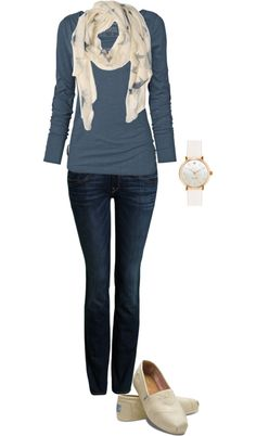 Navy Shirt + Dark Jeans + Beige Scarf + Beige Shoes + Beige Accessories = Nice & Simple & Cute Casual Outfit ( Great Outfit For Spring) (I Really Like This Combination Of Navy & Beige Colors Looks :) )