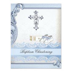 Baptism Blue White Cross Boy Damask christening 4.25x5.5 Paper Invitation Card