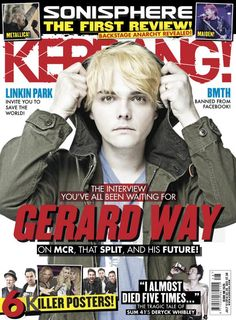 I thinks that this magazine is good to look at in order to get an idea of what I want the layout to look like. This is because the front cover is very busy which I think is good for a music magazine. Bob Meme, Magazine Front Cover, Magazine Covers, Cry Now, Mikey Way, Bmth, Music Magazines, Frank Iero, Gerard Way