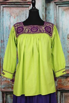Lime green & Purple Hand Embroidered Blouse Maya Chiapas Mexico Hippie Boho  #Handmade #blouse