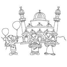 Children Celebrating Near Eidgah Color Healthcare Professionals Coloring Pages