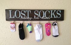 Lost socks seeking sole mate, hand painted sign. Laundry room sign. Missing socks. Sole mate. by CraftyRooster on Etsy https://www.etsy.com/listing/249379523/lost-socks-seeking-sole-mate-hand