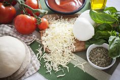 Ingredients for pizza. Check out our Fornetto blog for the recipes! http://fornetto.com/blog/we-have-a-winner/