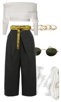 """""""Sans titre #3376"""" by mstfscxrus ❤ liked on Polyvore featuring Balenciaga, Ray-Ban, Proenza Schouler, GUESS and Off-White"""