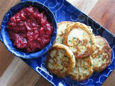 Mashed Potato Cakes with Raspberry Ginger Mustard Chutney
