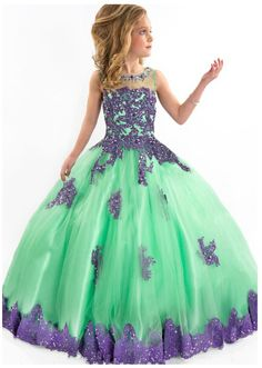 2015 New Arrival Little Girl Ball Gown Scoop Appliqued Glitz Pageant Floor Length Flower Girls Dresses For Children Prom Gown-in Dresses from Mother & Kids on Aliexpress.com | Alibaba Group
