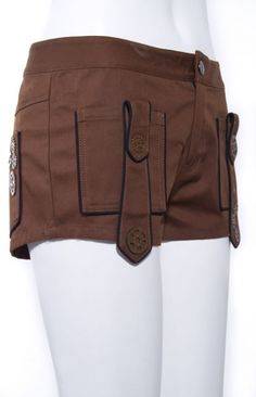 RQ-BL - Steampunk Shorts with Cog Detail - Coffee Brown