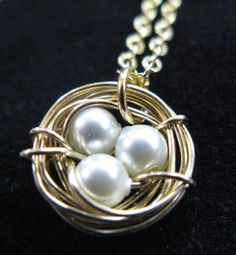 Just Nest swarovski pearl gold nest nesting necklace pendant charm bird gold silver plated customized personalized mother mom baby babies