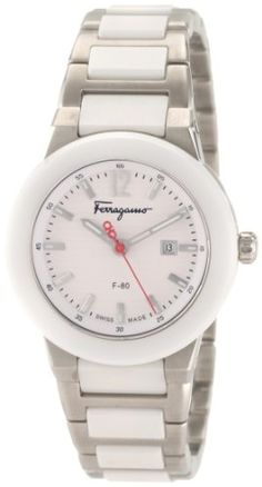 Ferragamo Women's F53SBQ98101 S981 F-80 Quartz 3-Hands White Ceramic Watch -