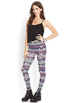 Abstract Zigzag Leggings | FOREVER21 - 2000069374