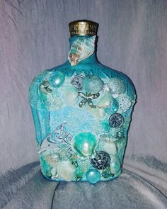 Sea shell crown royal bottle  #mikaniedesigns