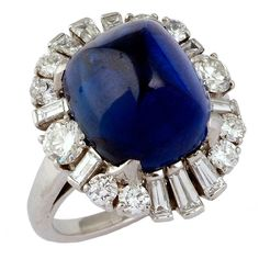 1950 Cabochon Sapphire and Diamond  14.57 carat Ring.