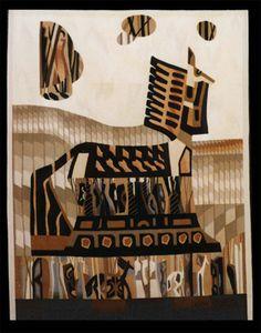Celina Grigore - Hand Woven Tapestry - The Trojan Horse Contemporary Tapestries, Trojan Horse, Tapestry Weaving, Art And Technology, Art Forms, Fiber Art, A4, Hand Weaving, Walls