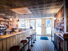 At Polpo, the décor is as spot-on as the Venetian small plates London Guide, Tin Walls, Tin Ceiling Tiles, London Restaurants, West End, Small Plates, Restaurant Design, Restaurant Interiors, Ceiling Design