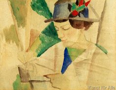 August Macke January 1887 – 26 September was one of the leading members of the German Expressionist group Der Blaue Reiter (The Blue Rider August Macke, Franz Marc, Harlem Renaissance, Cavalier Bleu, People Reading, Blue Rider, Reading Art, Art Deco, Art Moderne