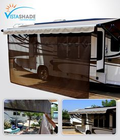 Keep the entire family cool with Vista Shade's RV awning screen shades. These RV awning shades are durable and long lasting. Shop our shade selection today! Travel Trailer Organization, Rv Travel Trailers, Camper Trailers, Camper Hacks, Caravan Awnings, Camper Caravan, Popup Camper, Rv Camping Checklist, Camping Car