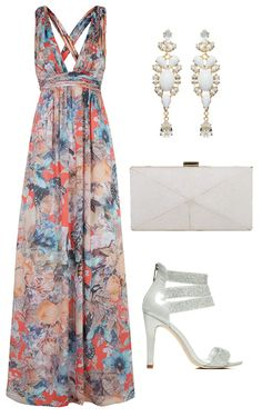 Floral maxi dresses are perfect for beach weddings.