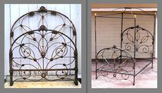 """""""Before & After"""" Crown Canopy Conversion. #ironbeds #antiqueironbeds"""