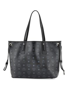 Liz Reversible Medium Shopper Tote Bag, Black - MCM