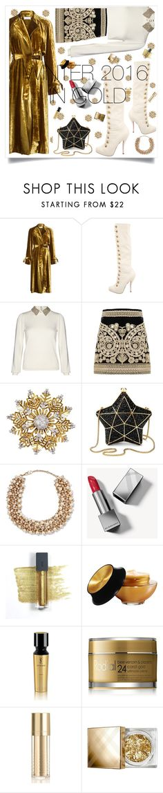 """Golden winter"" by alma994 ❤ liked on Polyvore featuring A.L.C., Christian Louboutin, Alice + Olivia, For Love & Lemons, Van Cleef & Arpels, Aspinal of London, Valentino, Burberry, Bite and Yves Saint Laurent"