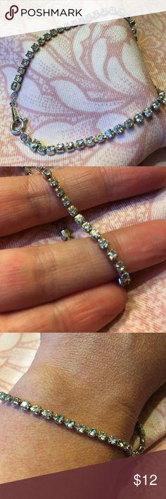 "Vtg Delicate Rhinestone Bracelet Vintage Avon clear faceted stone bracelet.  Approx length 7.5"" great vintage condition Avon Jewelry Bracelets"