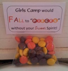 Girls camp would fall to pieces without your sweet spirit, girls camp, secret sister, Reese's Peices.