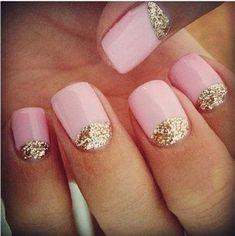 Pinkish and Sparkly Half Moon Nails.