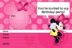 Minnie Mouse Printable Party Invitation Template