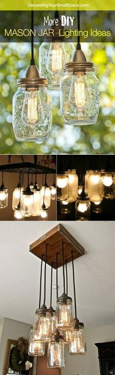 More DIY Mason Jar Lighting Ideas and Tutorials! - maybe we could use all our old mason jars to make a chandelier for over the kitchen table! Mason Jar Projects, Mason Jar Crafts, Mason Jars, Pots Mason, Mason Jar Lighting, Kitchen Lighting, Mason Jar Chandelier, Mason Jar Pendant Light, Lampshade Chandelier