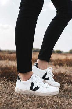 sneaker extra white black by Veja sneaker extra white black by Veja on thegreenlabels Veja Trainers, Veja Sneakers, Sneakers Mode, Sneakers Fashion, Shoes Sneakers, Sneaker Outfits, Converse Sneaker, Veja Esplar, Veja V 10