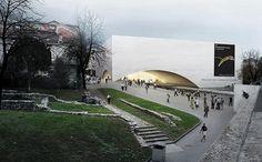 La construcción del Palacio del Cine forma parte del plan para la recuperación de las ruinas del núcleo medieval de la ciudad de Locarno, ocupando parte de los terrenos del antiguo fuerte fortificado.
