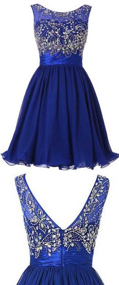 Illusion Royal Blue Homecoming Dress, Short Chiffon Homecoming Dress, Low Back Homecoming Dress with Beads and Crystal, #020102520