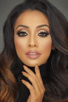 Trendy Makeup Looks Dark Asian Bridal Makeup, Wedding Makeup Looks, Bridal Hair And Makeup, Bride Makeup, Hair Makeup, Indian Wedding Makeup, Glam Makeup, Makeup Style, Bridal Beauty