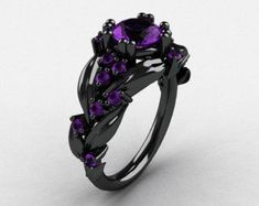 Nature Inspired Black Gold Ct Pink Sapphire Leaf and Vine Engagement Ring Includes: * 1 x over 5 grams solid black gold mounting ring size 7 (sizable) * 16 x round ~ Carat lab created pink sapphire stones * 1 x round CT mm diam) lab created pink Fantasy Jewelry, Gothic Jewelry, Cute Jewelry, Jewelry Accessories, Jewelry Box, Jewelry Design, Black Hills Gold Jewelry, Black Gold Rings, Silver Ring