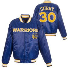 Golden State Warriors JH Design Stephen Curry #30 Satin Embroidered Jacket - Royal