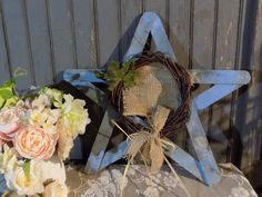 Blue Rustic Star, Rustic Home Decor - Pallet Wood , Reclaimed Wood Star, Wooden Star, Primitive Star, Farmhouse Decor, Country, Barn Decor