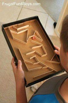 Box maze with lolly sticks