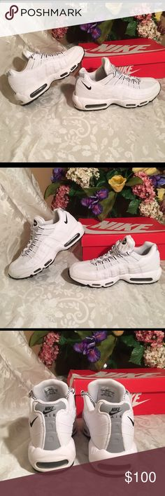 Nike Air Max '95 Men's Shoes White/Black Nike Air Max '95 Men's Shoes White/Black-Black size 12 # 609048-109. These shoes are in like new condition, one tiny mark will clean up,retails between 140-160, Comes with box.   The Men's Nike Air Max 95 Running Shoe is a classic whose functionality and fashion actually enjoy equal footing. Almost 20 years after its original release these classic running shoes were designed with the human body in mind. Initially just a running shoe, the Nike Air Max…