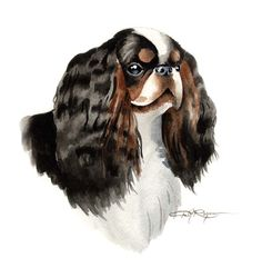 English Toy Spaniel Dog Art Print Signed by Artist by k9artgallery   WATERCOLOR