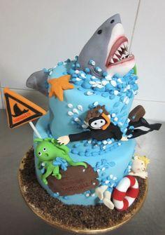 shark birthday cake | Diving Theme Birthday Cake With Diver And Shark Pinterest