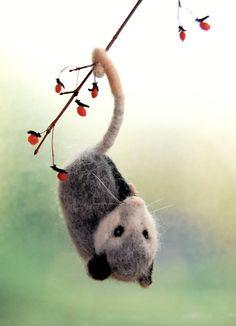 Needle Felted Possum. Needle Felted Opossum. Wool by ElisaShine